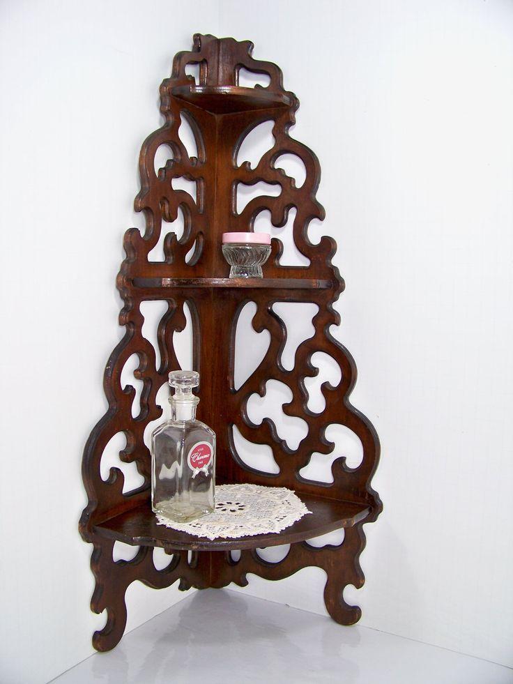 vintage corner wooden shelves for sale   Antique Scrolled Wood Corner Shelf by SmakBoutique on Etsy