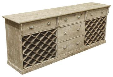 French Country Rustic Parlor Large Wine Cabinet Sideboard - buffets and sideboards - Kathy Kuo Home $2,464