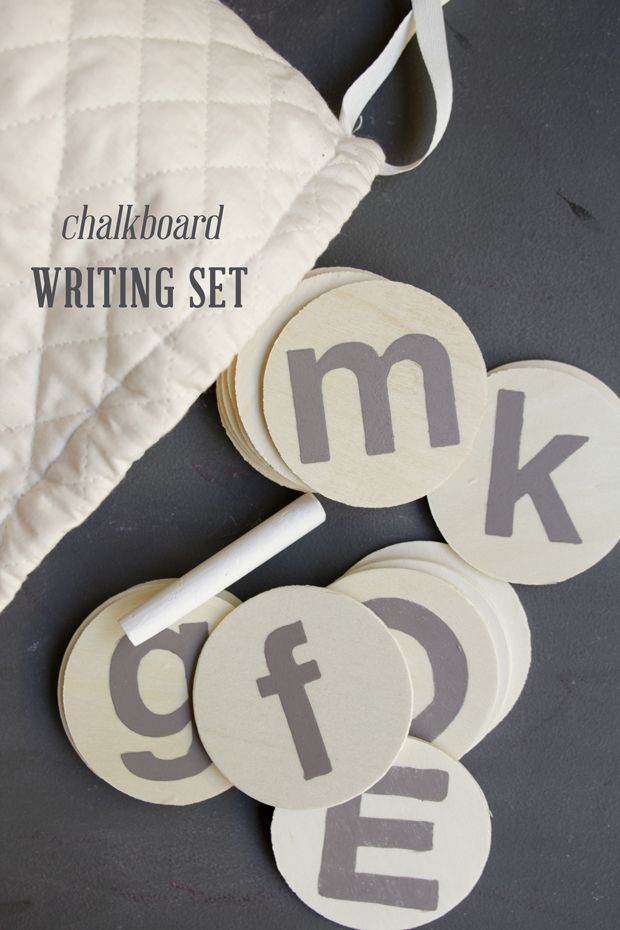 Stencil letters with chalkboard paint; kids can trace with chalk as writing practice.