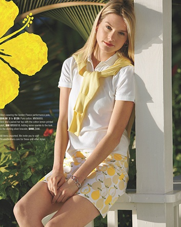 prep cute lemons in a fresh white and lilly pulitzer casual outfit. Country club chic.