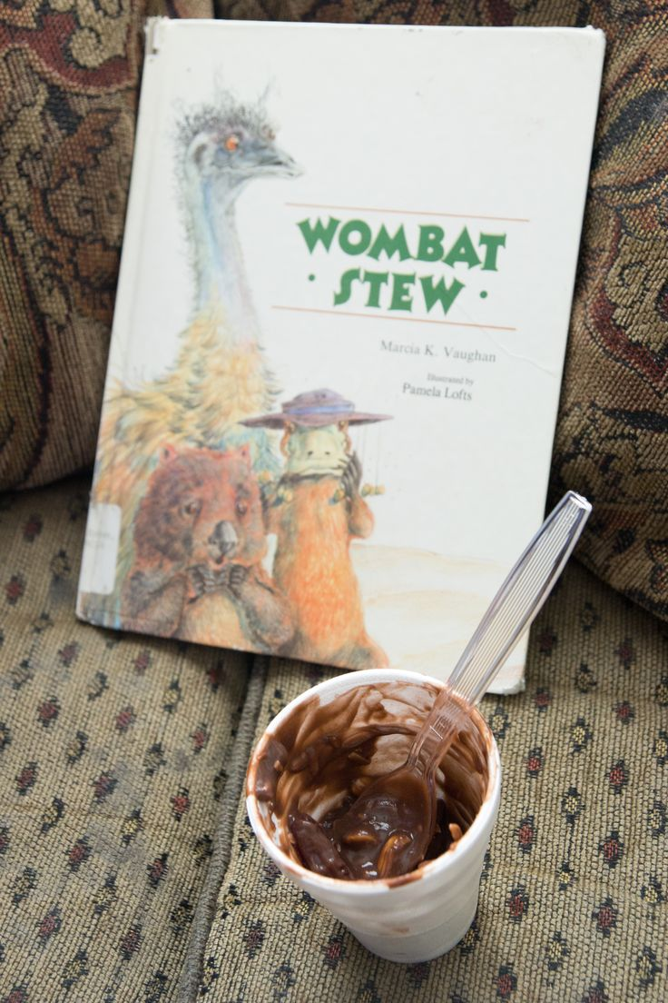 Wombat Stew Recipe - your kids get to eat mud, feathers, flies  creepy crawlies with this yummy recipe! aka pudding, coconut, raisins  gummy worms.