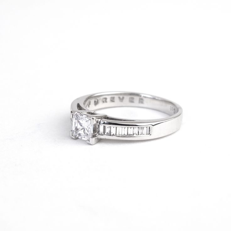 Beautiful side view of the 0.70ct 18ct White Gold Forever ring