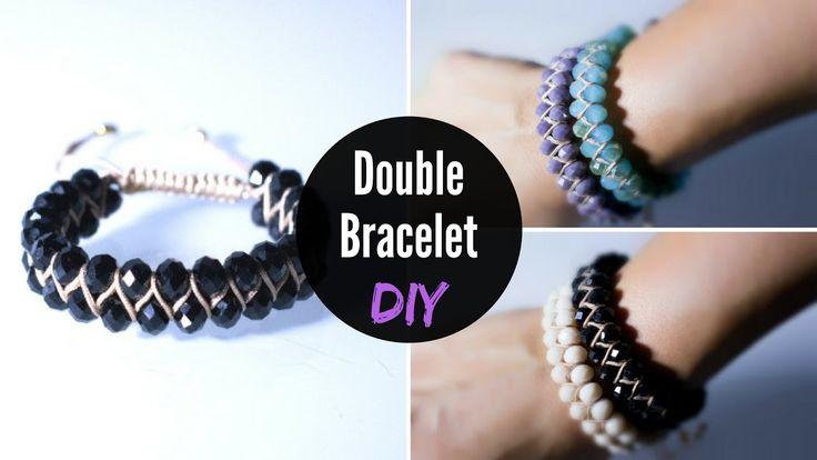 DIY Double Bracelet with Crystal Beads | Διπλό Βραχιόλι με Κρύσταλλα | J...