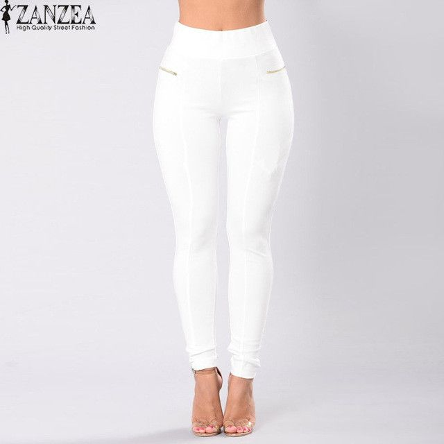 2017 ZANZEA Women Oversized High Waist Zip Up Long Skinny Pants Vintage Ladies Elastic Waist Casual Solid Stretch Slim Trousers