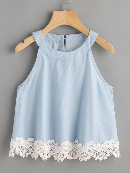 Top con ribete de encaje y espalda con abertura #blousesencaje