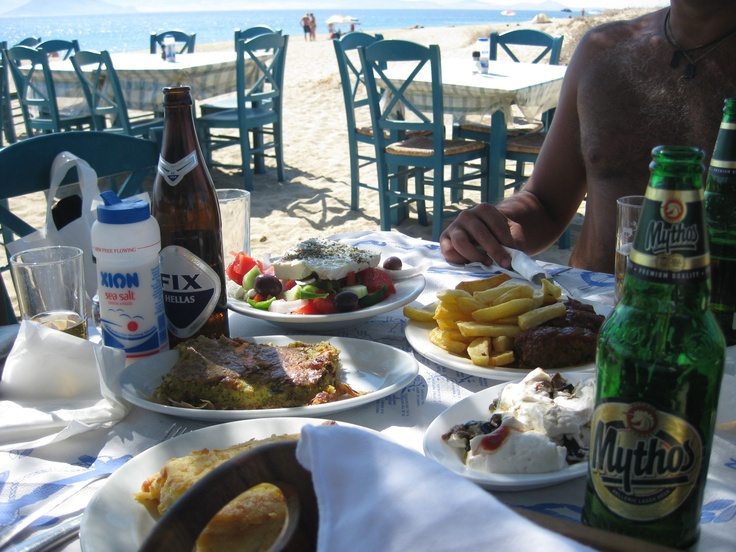 There's nothing like eating an amazing home-cooked Greek meal right on a Greek beach...