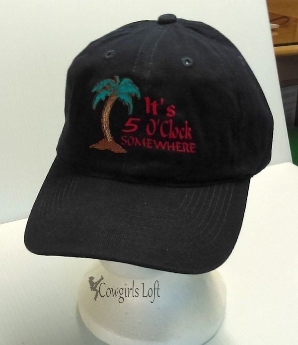 Embroidered Cap It's 5 O'Clock Somewhere Beach Palm Tree Navy Blue Hat Brushed Cotton Baseball Cap by CowgirlsLoft on Etsy