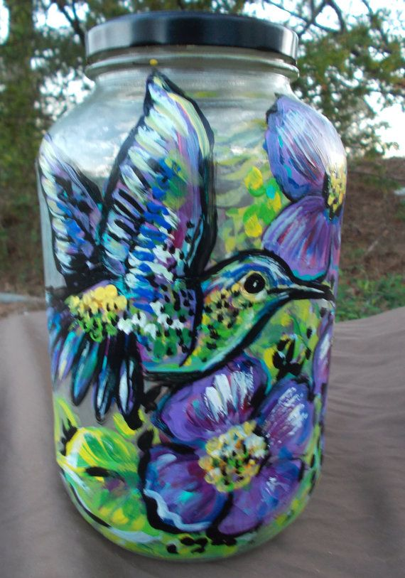 Hummingbird hand painted gallon glass jar with lid by dawntarr