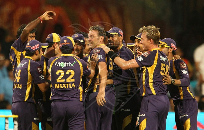 The Knights celebrate the fall of a wicket against RCB