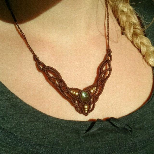 ethnic macrame gemstone necklace. Sunstone macrame necklace boho necklace handmade macrame gemstone necklace sunstone jewelry