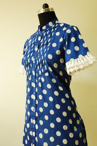 Polka Dot Cotton Top with Crochet Lace Design on Sleeves and Back.