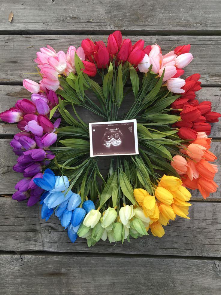 Regenbogen-Baby-Mitteilung / decken auf – Easter pregnancy announcement