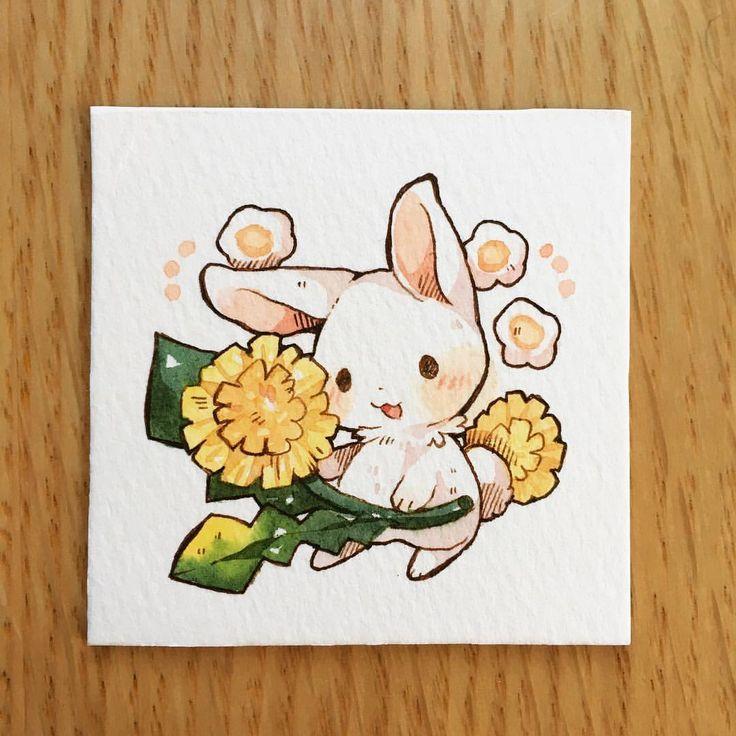 Bunny & Dandelion - adorable illustration by @mookarooru on Instagram