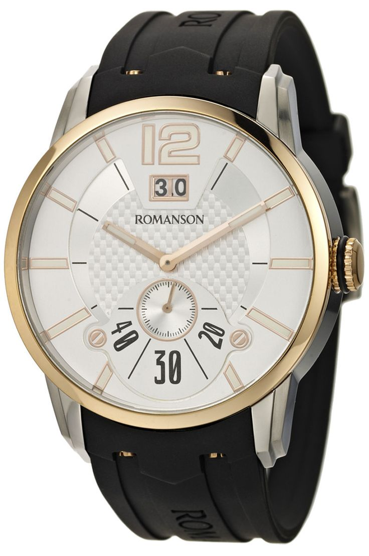 Timepiece Theatre - TL9213MM1JAS6R - Romanson Rose Gold Swiss Quartz Men's Watch with Date Function and Luminous Hands