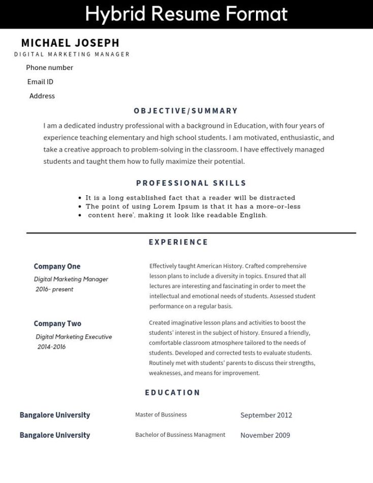 Know how to make a good resume. Formats of all three types