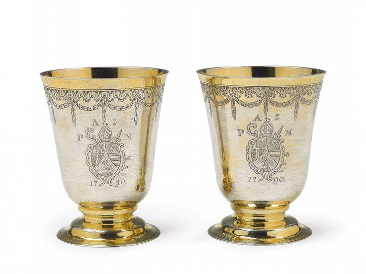 Caspar Xaver Stippeldey, Marks of Caspar Xaver Stippeldey, 1790.An important pair of Augsburg silver gilt abbot's beakers, Auction 1066 Decorative Arts, Lot 1067 #lempertz #silver #artdeco #art #artauction #cologne