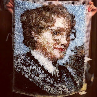 Latch hook Mrs. Doubtfire rug. Via Morgan Gesell -- All I can say is woah.