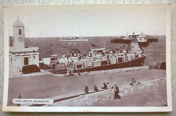 Postcard of the Jetty at Margate in Kent with Steam Boats / Ships