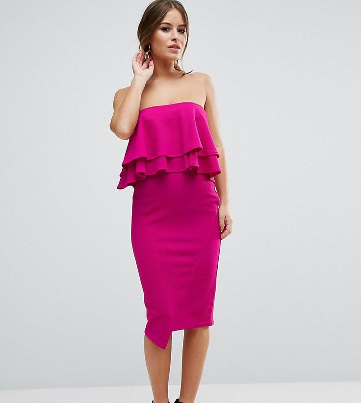 ASOS PETITE Double Ruffle Bandeau Pencil Dress in Texture - Purple
