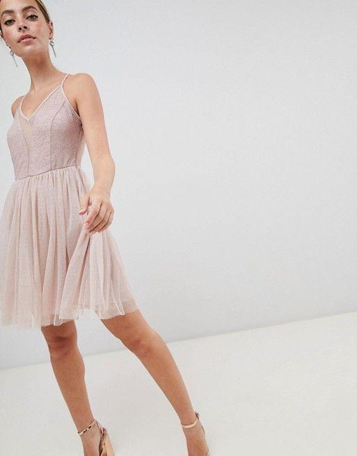 d661f67c06 DESIGN Petite sleeveless dobby lace mix mini dress in 2019