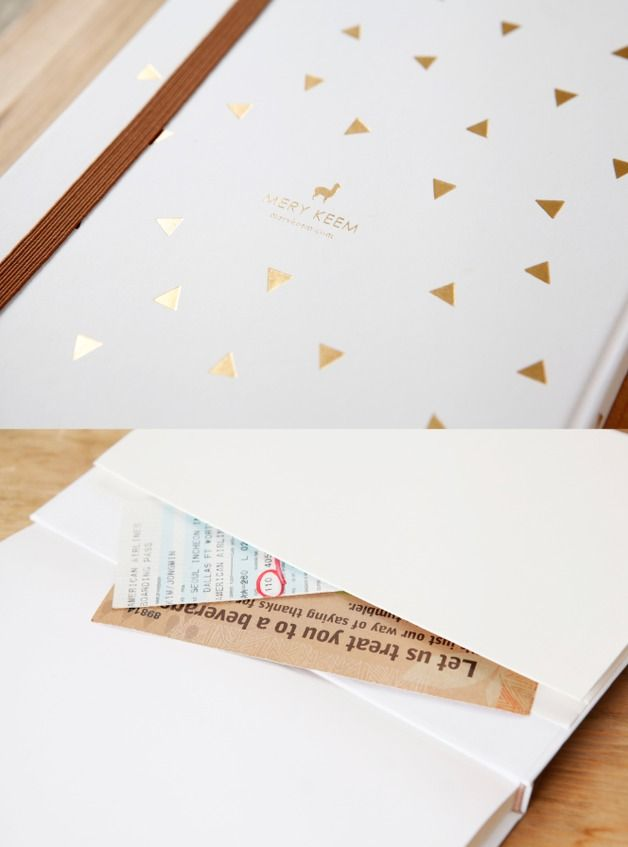 Notebooks – Triangle Gold Foil Journal/Notebook in White Backg – a unique product by MERYKEEM on DaWanda