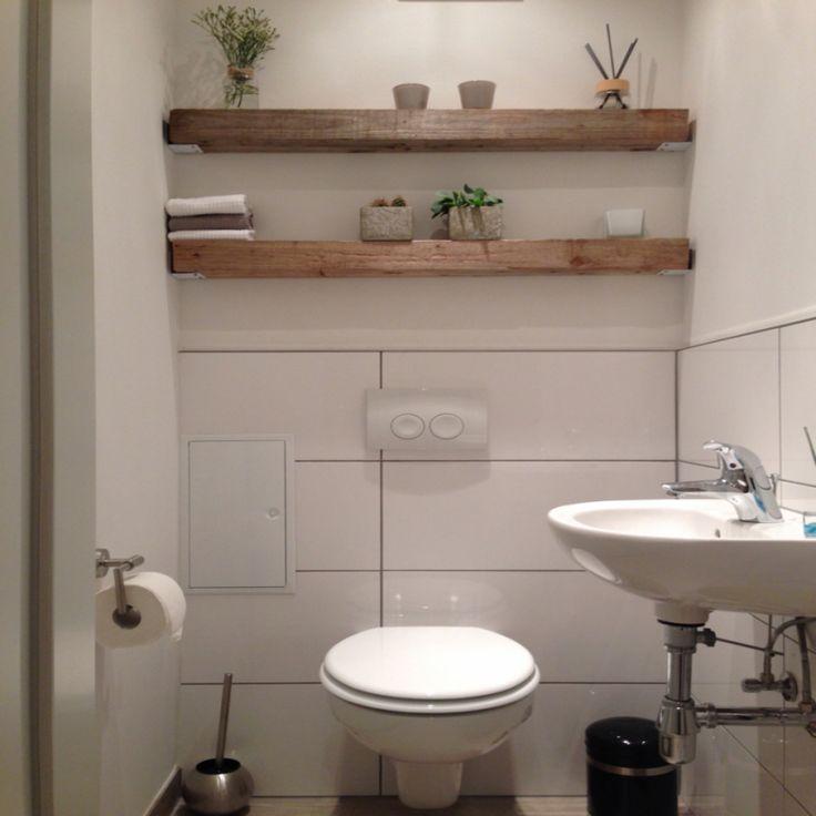 Modern Trifft Rustikal Holz Balken Regal Gste Wc Home Sweet für ...