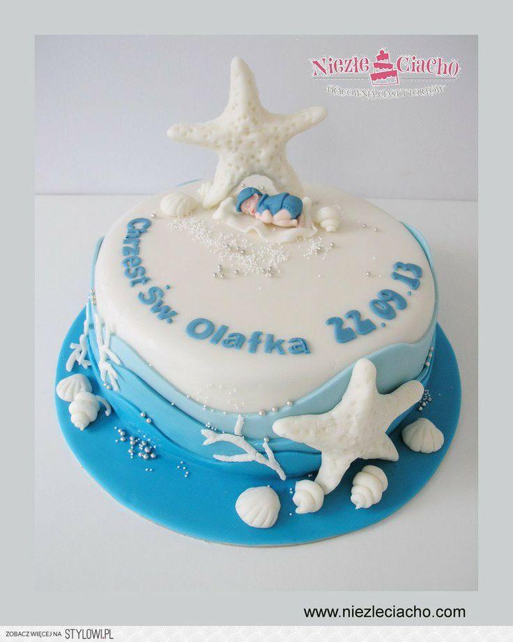 Chrzciny, tort na chrzciny, tort chrzcielny, chrzest dziecka, tort chrzcielny dla chłopca, morze, elementy morskie, rozgwiazda, muszelki, koralowce, tort z dzieckiem, dzidziuś, Tarnów