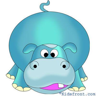 How to Draw Hippopotamus, How to Draw for Kids, How to Draw Step by Step Hippopotamus