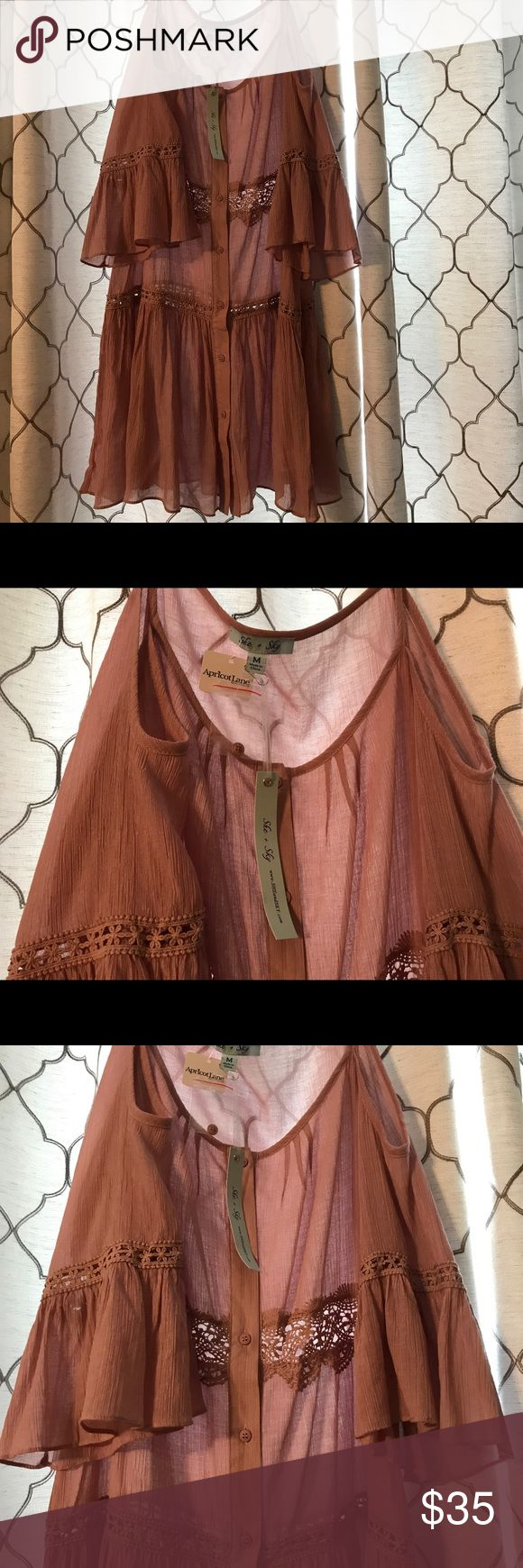 Apricot Lane Top Cute blush colored off the shoulder long tunic-like top or dress from the Apricot Lane boutique. Semi-shear. Size medium. NEVER WORN. apricot lane Tops Tunics