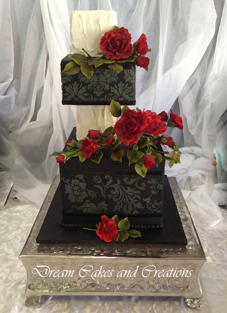 2 or 3 tiers with stenciling and lots of red roses