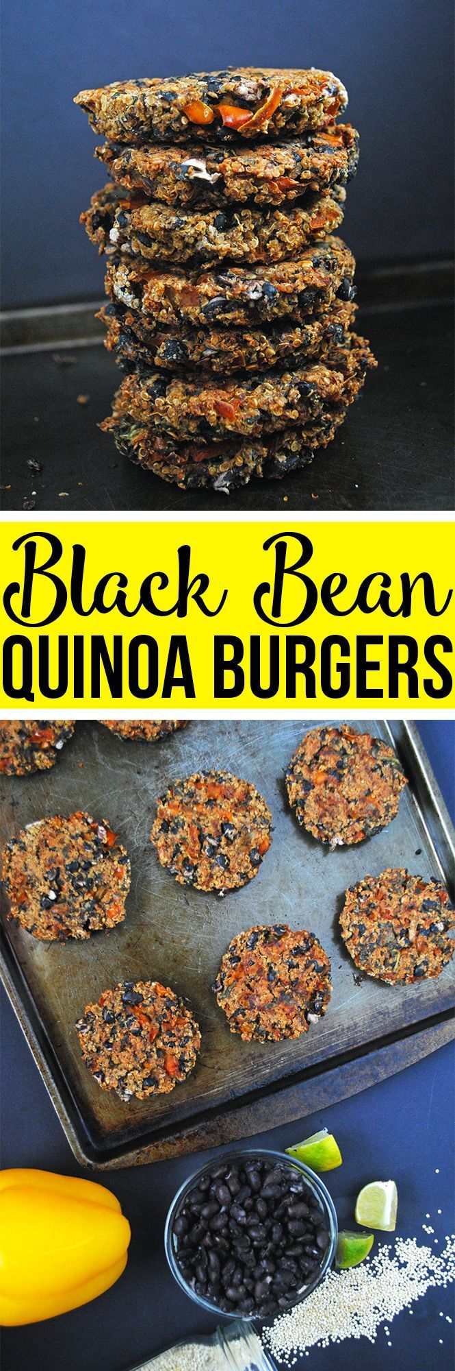 Easy baked black bean quinoa veggie burgers that are vegan & gluten-free, filled with plant protein, and perfect for end-of-the-summer cook-ups.