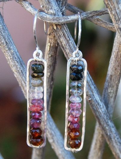 Watermelon Tourmaline Earrings Hammered Sterling Silver Frame Dangle Handcrafted Recycled Silver. $69.00, via Etsy.