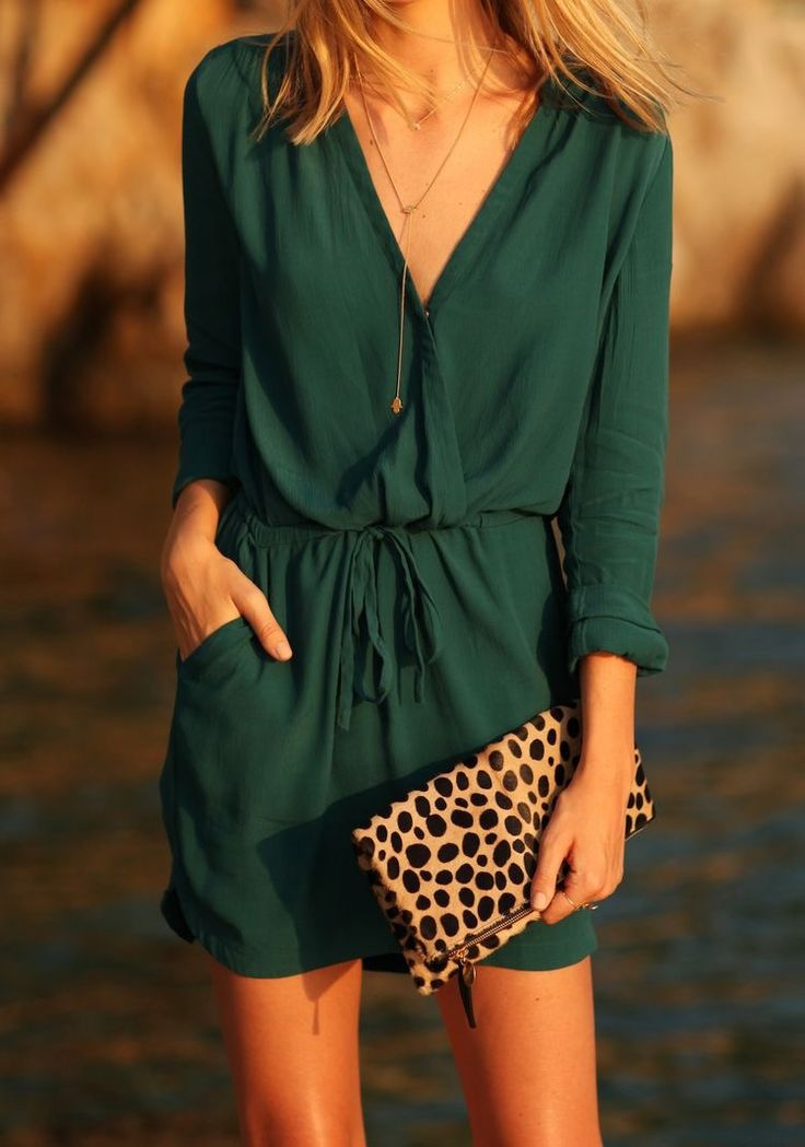 Green dress & leopard clutch.