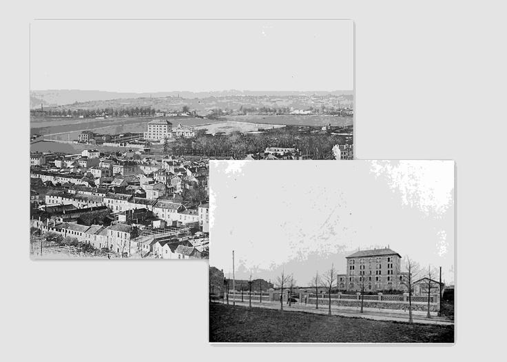 1903:04 La MF est terminée mais la maison Eyrolles n'est pas encore commencée, vous remarquerez que les pignons ont été modifiés par la suite, les terrasses étaient à l'époque accéssibles depuis le deuxième.