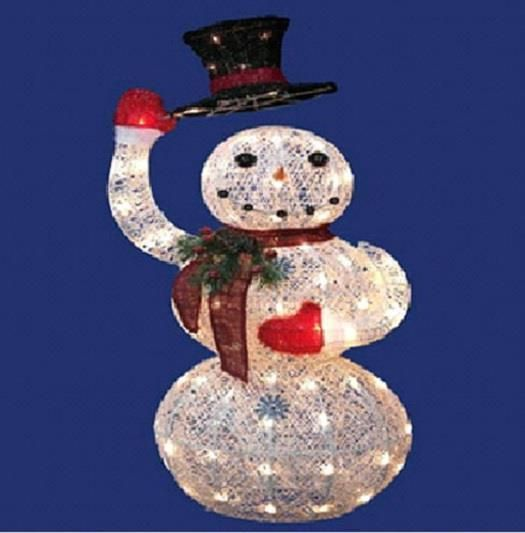 40 lighted animated top hat waving snowman sculpture for Animated snowman decoration