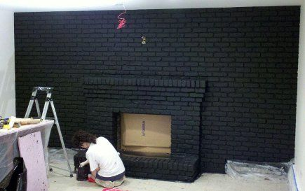 black brick fireplace ideas | ... black. It hardly looks like the same space — why I always swear by