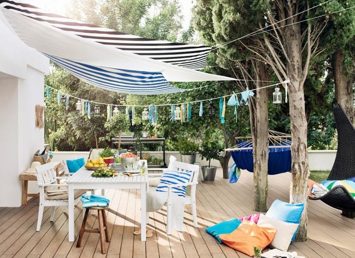 terrasse mit dyning sonnensegel ngs tisch und st hlen und granat kissen outdoor pinterest. Black Bedroom Furniture Sets. Home Design Ideas