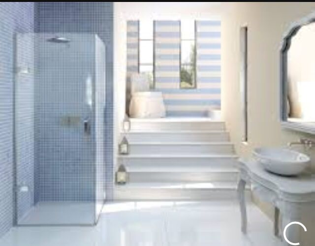 Matki EauZone Plus Hinged Door for Corner - luxury shower enclosure, set  beautifully in nautical, beach scape style bathroom