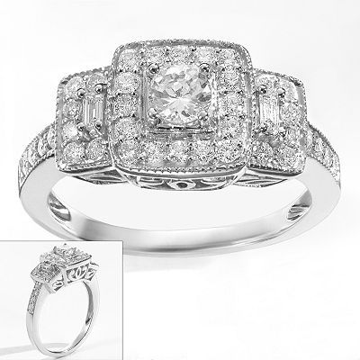 Simply Vera Diamond Trellis Halo Engagement Ring In White Gold Ct