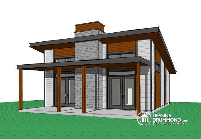 Contemporary Style House Plans   686 Square Foot Home , 1 Story, 2 Bedroom  And 0 Bath, 0 Garage Stalls By Monster House Plans   Plan