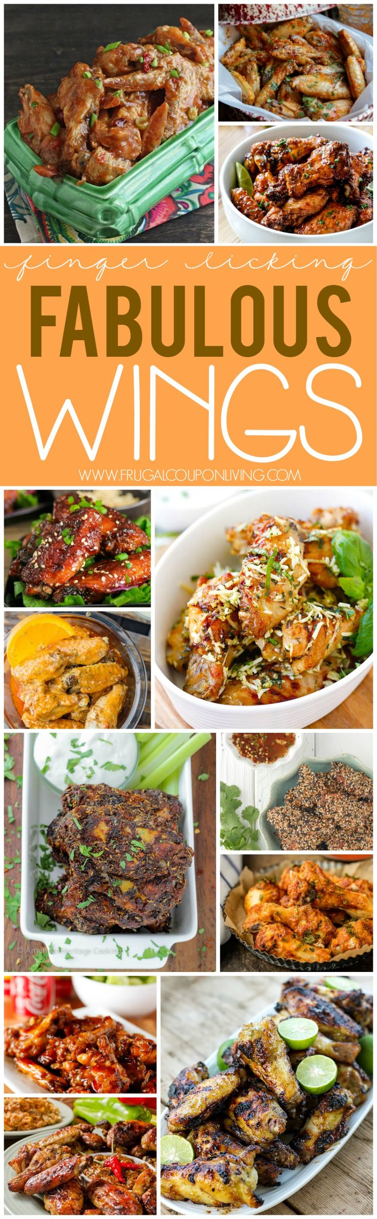 Finger Licking Fabulous Wings on Frugal Coupon Living - Sweet, Salty, Savory, Bake, Fried, in the Crock Pot, To Die For and more These Wing Recipes are perfect for a tailgate, home party and more!