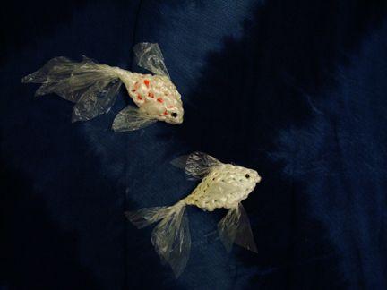 crochet plastic-bag yarn (plarn) betta fish.