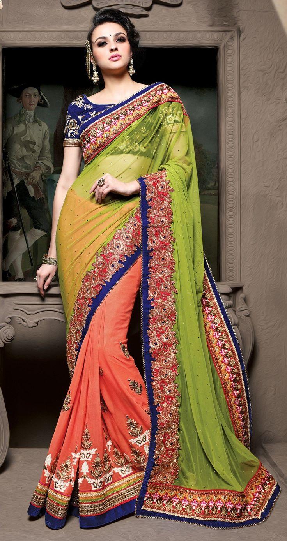 Peach Viscouse Net Saree With Zari,Resham Thread And Stone Work #bandbaajaa.com #bandbaajaa #weddingsarees #weddingsaris #bridalsarees #bridalsaris #designersarees #designersaris #sarees #saris #weddingwear #weddingshopping