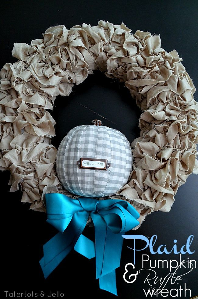 plaid pumpkin and ruffle wreath
