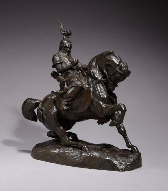 Antoine-Louis BARYE (1795-1875) Le Cavalier Tartare Sculpture en bronze à patine brun marron foncé Signée sur le devant de la terrasse 'Barye' et marque du fondeur 'F. Barbedienne fondeur' H: 36 - L: 36… - Millon & Associés - 18/09/2015