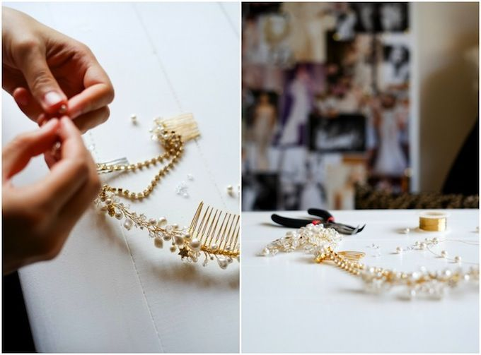 making a bridal headpiece in the @Percy Handmade studio | DIY Wedding hair accessories