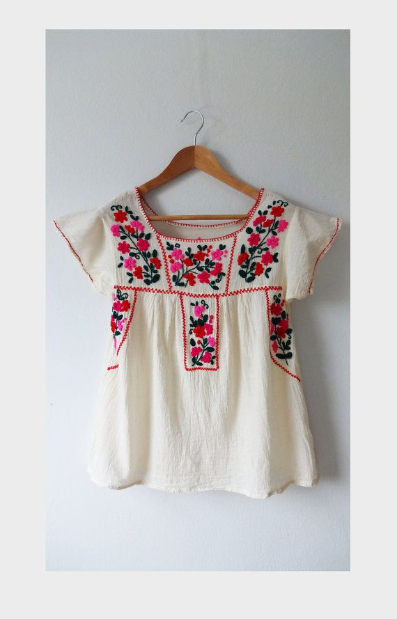 Mexicana mano bordada blusa oaxaqueña tapa campesina por BeStyleTH