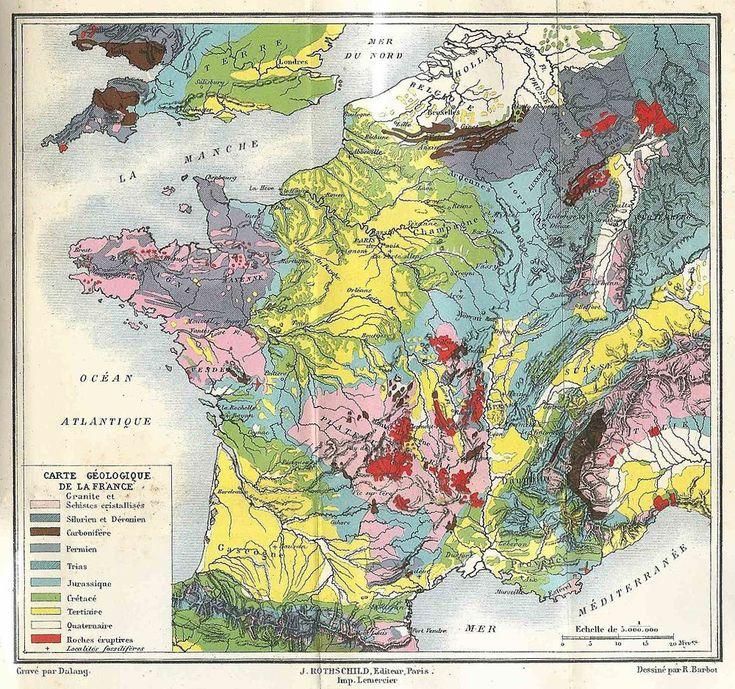 Carte géologique de France gravée en 1884