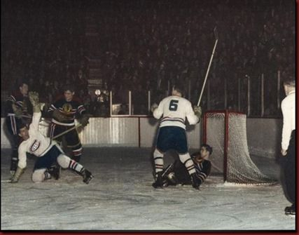 In 1947 the NHL introduced a new policy that encouraged players to raise their sticks in the air to signal a goal when they scored. Here's Toe Blake and Maurice Richard celebrating a goal. #NHL #Hockey