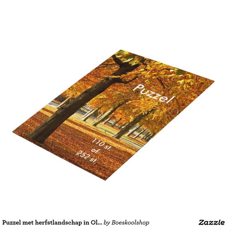 Puzzel met herfstlandschap in Oldenzaal. Tekst is verwijderbaar c.q. aanpasbaar qua lettertype, kleur, grootte en locatie!
